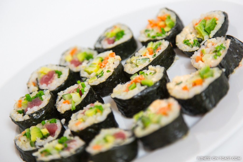 BROWN RICE SUSHI  http://fitnessontoast.com/2012/12/28/sushi-easy-but-complex/