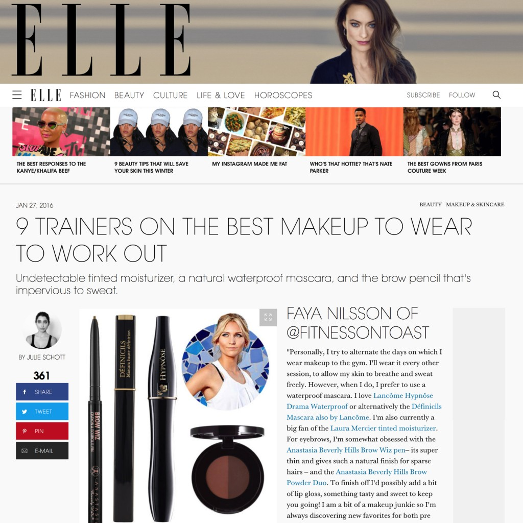 ELLE MAGAZINE ONLINE - BEAUTY - 27th Jan 2016
