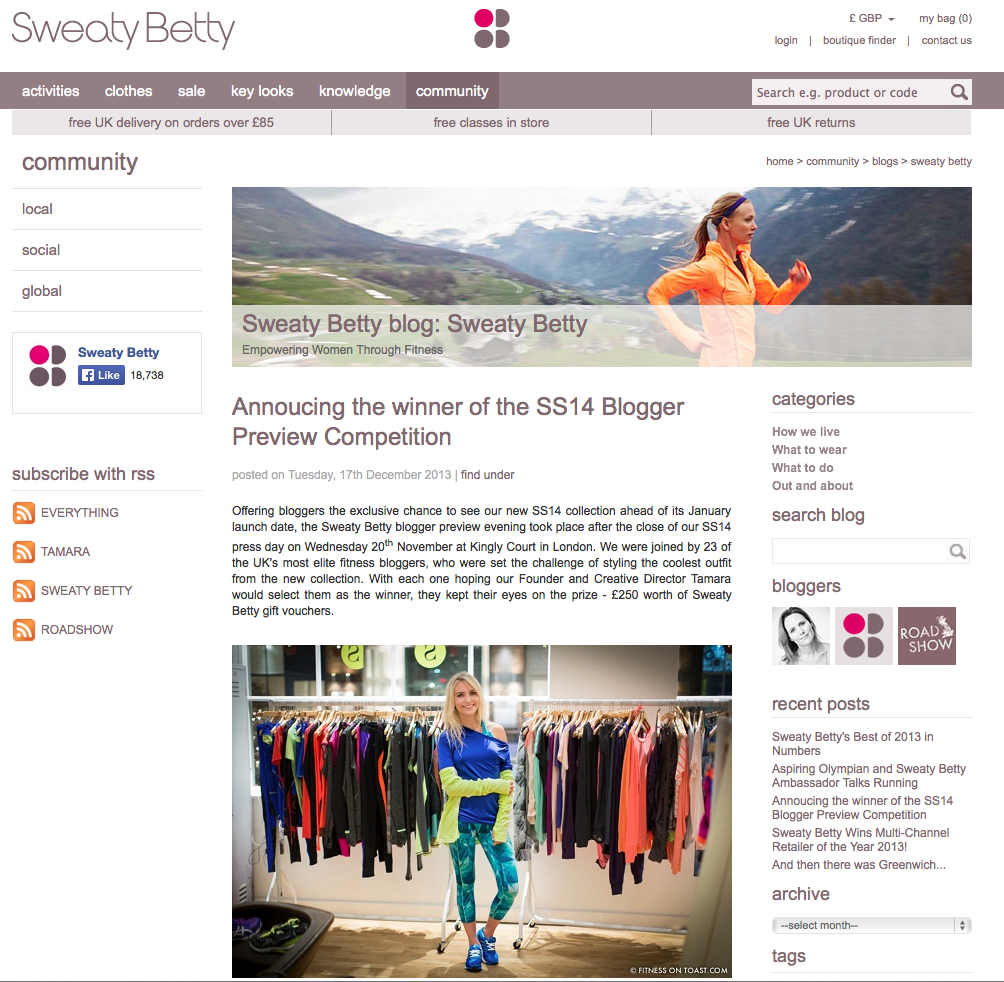 SWEATY BETTY WEBSITE - SS14 Blogger Styling Competition winner (yay) - 29th DEC 2013 -