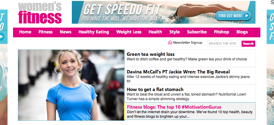 Women's Fitness website feature healthy exercise gym
