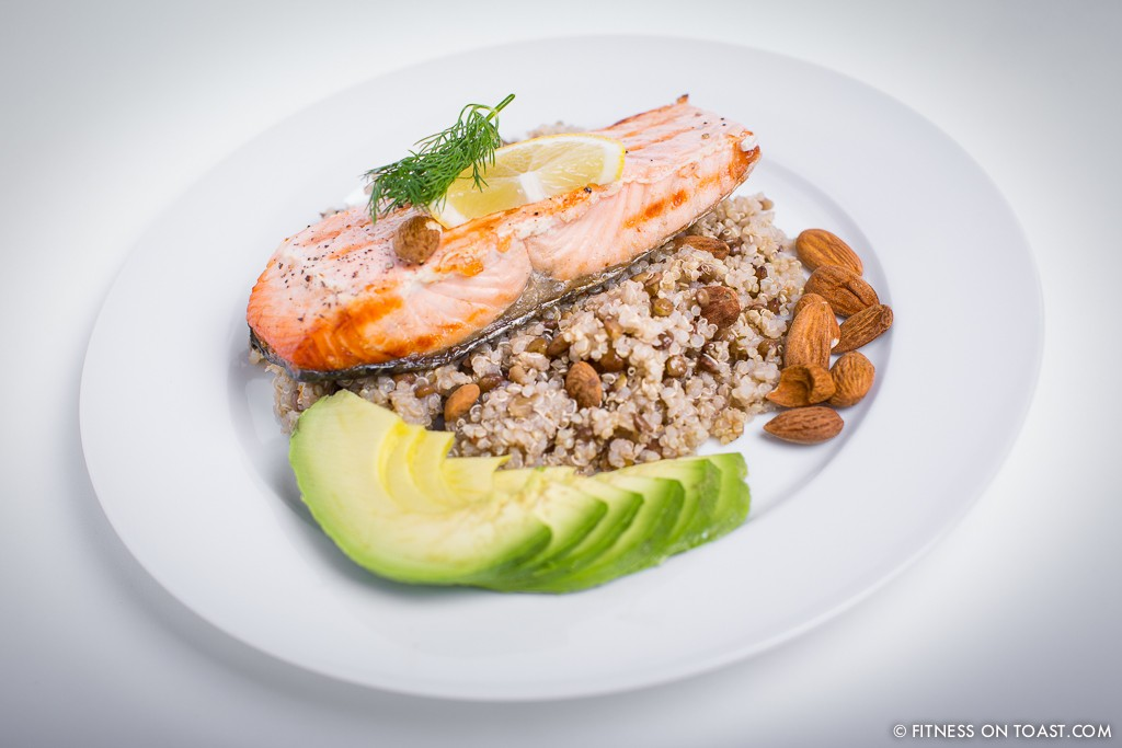GRILLED SALMON, LENTILS, QUINOA AND AVOCADO !!!  http://fitnessontoast.com/2013/12/08/festive-grilled-salmon-lentils-quinoa-and-avocado/