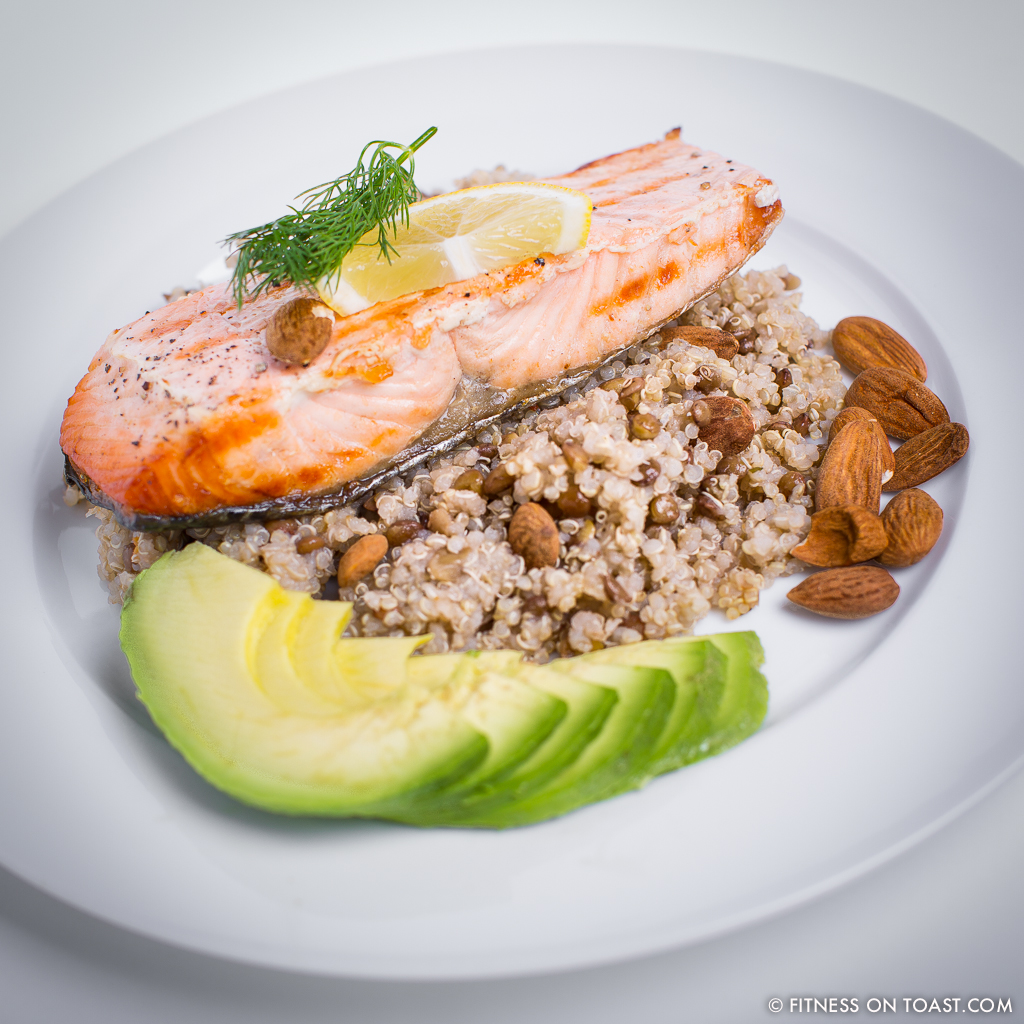 Fitness On Toast Faya Quinoa Lentil Grilled Salmon Healthy Dish Tasty Recipe High Protein Natural SQUARE