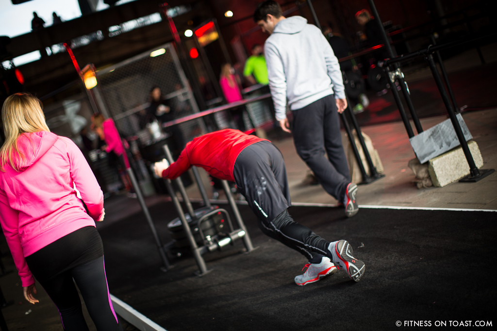 Fitness On Toast Faya Under Armour Armor Gym Southwark Bridge London Pop Up Exercise Temporary Stations Sledge Functional Compound-11