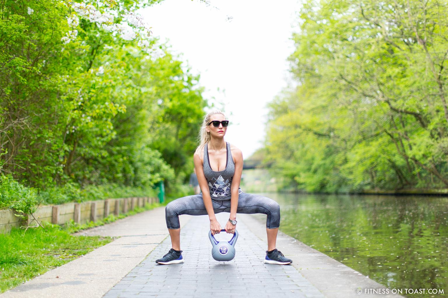 Fitness On Toast Faya Blog Girl Healthy Workout Regents Canal London Kettle Bell Squat Swing Lunge Twist Burpees Old Navy Fashion OOTD Gap Chanel Celine-3