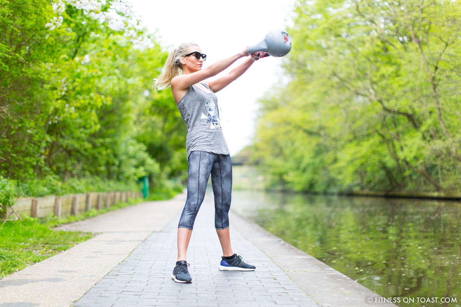 Fitness On Toast Faya Blog Girl Healthy Workout Regents Canal London Kettle Bell Squat Swing Lunge Twist Burpees Old Navy Fashion OOTD Gap Chanel Celine-4