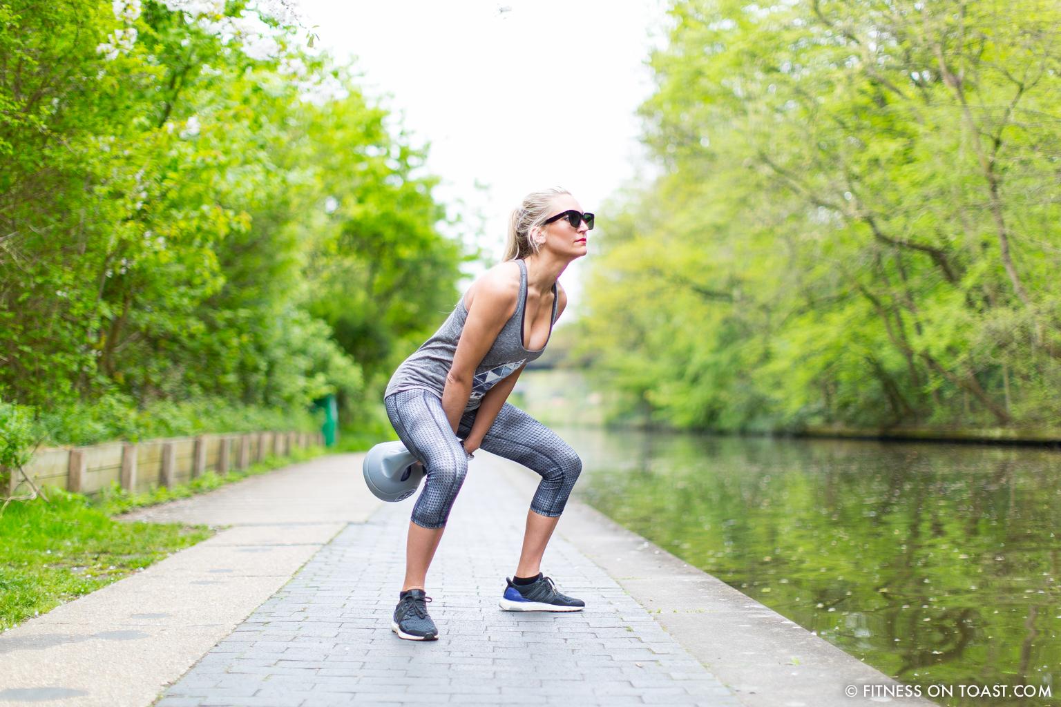 Fitness On Toast Faya Blog Girl Healthy Workout Regents Canal London Kettle Bell Squat Swing Lunge Twist Burpees Old Navy Fashion OOTD Gap Chanel Celine-5