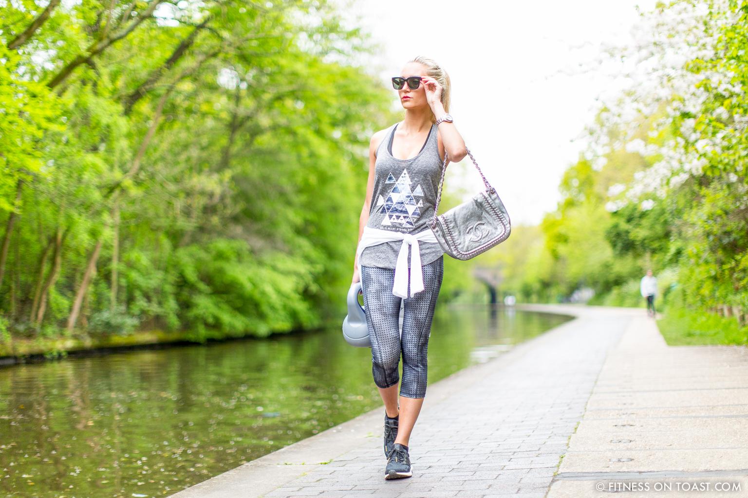 Fitness On Toast Faya Blog Girl Healthy Workout Regents Canal London Kettle Bell Squat Swing Lunge Twist Burpees Old Navy Fashion OOTD Gap Chanel Celine