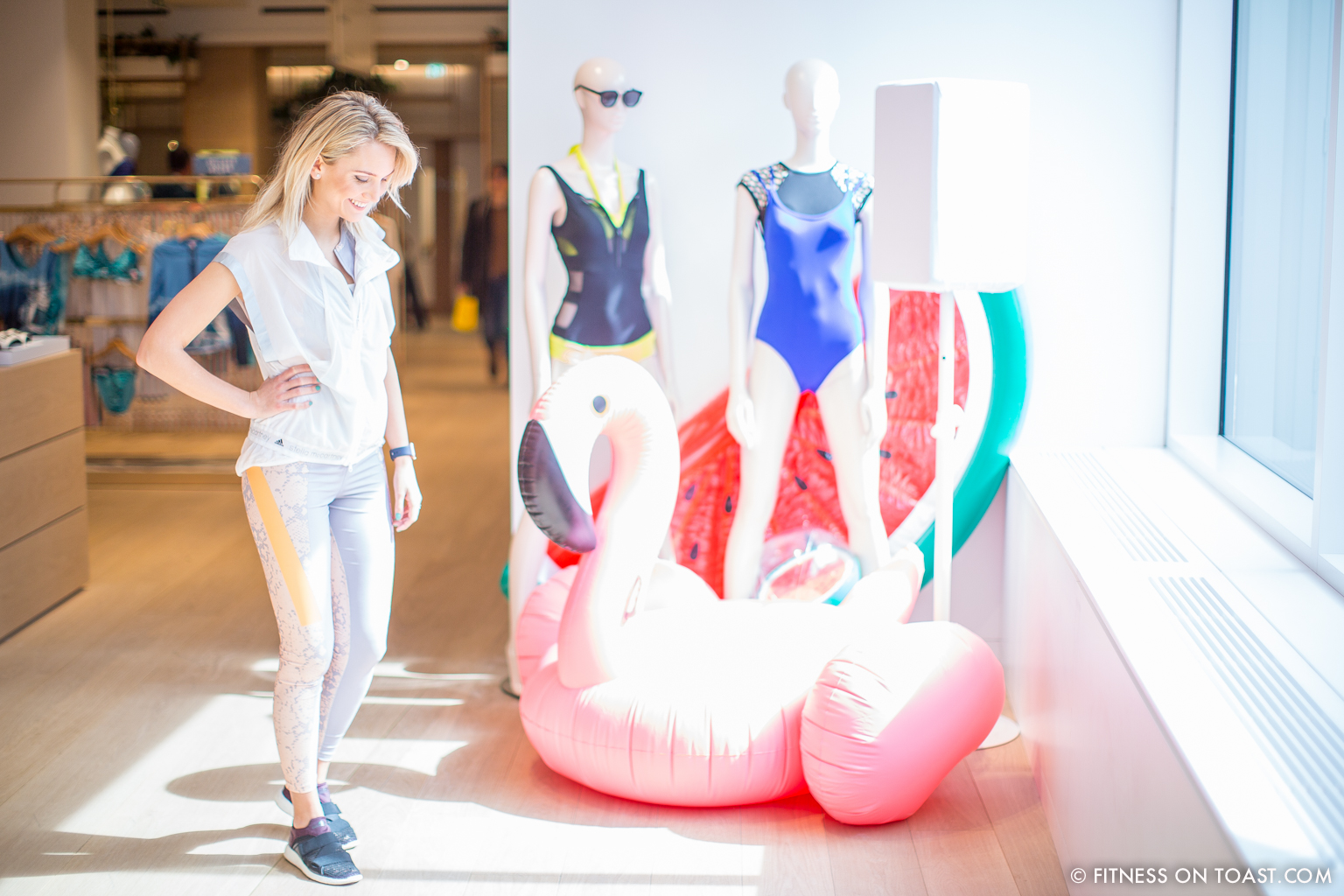 Faya Nilsson of Fitness On Toast in collaboration with Selfridges for 'The Body Studio'; Met some friends, mannequins and a pink inflatable flamingo
