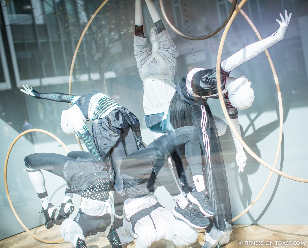 Faya Nilsson of Fitness On Toast in collaboration with Selfridges for 'The Body Studio'; mannequins doing some really quite awesome acrobatic work wearing Stella McCartney for Adidas
