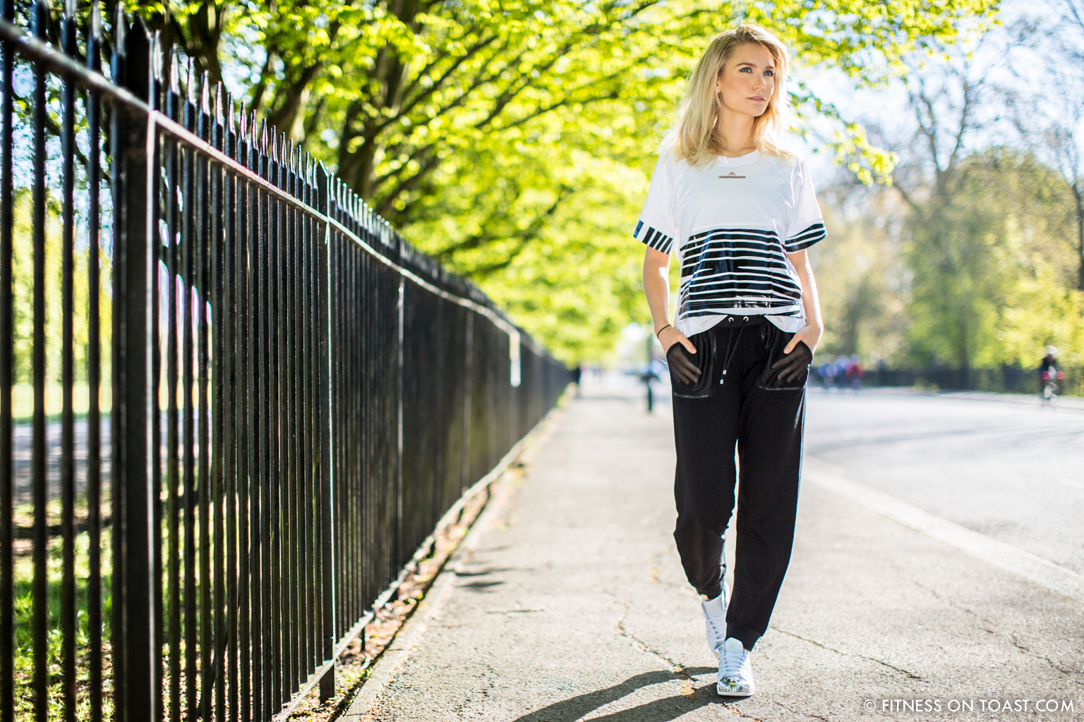 Faya Nilsson of Fitness On Toast in collaboration with Selfridges for 'The Body Studio'; Wandering through Regent's Park on a sunny spring day in her Adidas and Monreal outfit