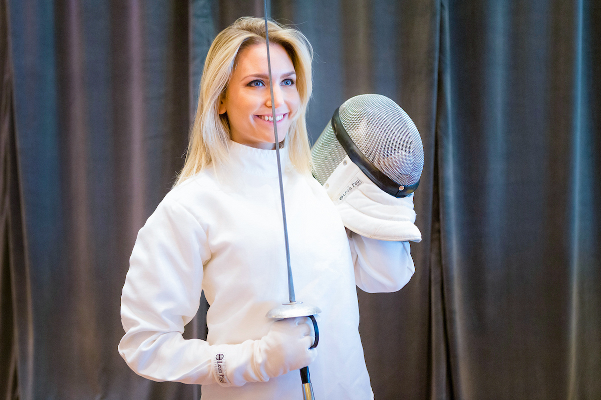 Faya Nilsson (fitnessontoast) receives a fencing lesson in the Queen's Room on board Cunard's Queen Elizabeth in Southampton. Picture date: Tuesday January 3, 2017. Photograph by Christopher Ison © 07544044177 chris@christopherison.com www.christopherison.com